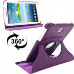 360 Degrees Rotation Litchi Texture Leather Case with Holder for Samsung Galaxy Tab 3 (7.0) / P3200 / P3210(Purple)