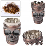 Skull King Style Zinc Alloy Double Layers Herb Tobacco Cigarette Grinder (Red Copper)