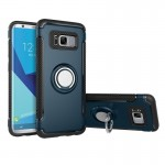 For Samsung Galaxy S8 Phone Ring Armor TPU + PC 360 Degrees Rotation Magnetic Phone Ring Stent Combination Case(navy)