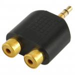 Golden Plated RCA Female to 3.5mm Male Jack Audio Y Adapter