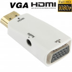 Full HD 1080P HDMI to VGA and Audio Adapter for HDTV / Monitor / Projector(White)