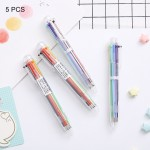5 PCS Creative Stationery Simple Cute Six Colors Ball Pen Push Action Pen School Office Supplies, Random Color Delivery