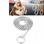 Pet Collars Pet Neck Strap Dog Neckband Snake Chain Dog Chain Solid Metal Chain Dog Collar,Length:50cm (Silver)