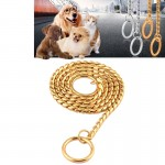 Pet Collars Pet Neck Strap Dog Neckband Snake Chain Dog Chain Solid Metal Chain Dog Collar,Length:55cm (Gold)