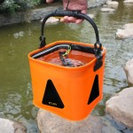 Multi-function Thickening Live Fish Bucket Foldable Waterproof Fishing Storage Bucket with Rope, Size: 22*22 cm, Random Color De