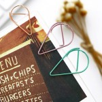 20 PCS Metal Material Water Drop Shape Paper Clips Color Funny Bookmark Office Shool Stationery Marking Clips, Random Color Deli