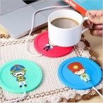 Cartoon Soldier Pattern USB Silicone Warm Coaster, Random Color Delivery