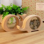 Creative Cartoon Coin Pots Transparent Wood Animal Design Piggy Bank, Random Style Delivery