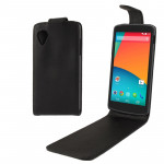Vertical Flip Leather Case for Google Nexus 5 (Black)