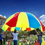 3.6m Children Outdoor Game Exercise Sport Toys Rainbow Umbrella Parachute Play Fun Toy with 8 Handle Straps for Families / Kinde