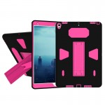 For iPad Pro 10.5 inch PC+Silicone Shockproof Protective Back Cover Case With Holder (Magenta + Black)
