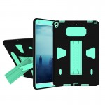 For iPad Pro 10.5 inch PC+Silicone Shockproof Protective Back Cover Case With Holder (Green + Black)
