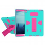 For iPad Pro 10.5 inch PC+Silicone Shockproof Protective Back Cover Case With Holder (Magenta + Green)