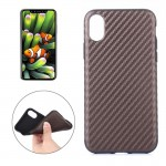 For iPhone 8 Carbon Fiber TPU Shockproof Protective Back Cover Case,Small Quantity Recommended Before iPhone 8 Launching(Brown)