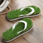 KEMA Summer New Pattern Flat Bottom Home Furnishing Non-slip Simulation Lawn Slippers Flip Flops, Size: 36/37#, Length: 24.5cm