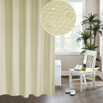 Thickening Waterproof And Mildew Curtain Honeycomb Texture Polyester Cloth Shower Curtain Bathroom Curtains,Size:180*180cm(Beige