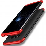 GKK for Samsung Galaxy S8 PC Three - paragraph Shield 360 Degrees Full Coverage Protective Case Back Cover (Black + Red)