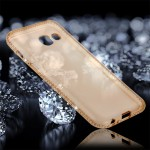 For Samsung Galaxy A3 (2017) Diamond Encrusted Transparent Soft TPU Protective Back Cover Case (Gold)