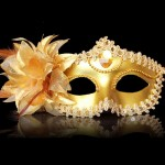 Halloween Masquerade Party Dance Plating Side Flower Feather Venice Princess Mask (Gold)