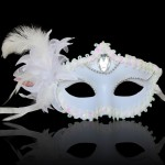 Halloween Masquerade Party Dance Plating Side Flower Feather Venice Princess Mask (White)