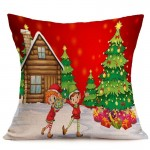 Christmas Festival Pattern Car Sofa Pillowcase with Decorative Head Restraints Home Sofa Pillowcase, C, Size:43*43cm