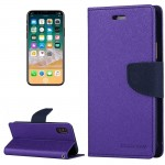 MERCURY GOOSPERY FANCY DIARY for iPhone 8 Cross Texture Horizontal Flip Leather Case with Card Slots & Wallet & Holder, Small Qu