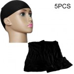 5 PCS High Elastic Silk Socks Fake Hair Net Wig Liner Caps Snood Mesh, B(Black)