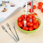 10 PCS Stainless Steel Fruit Fork Creative Environmental Small Fruit Prong