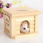 Pet Flat Roof Wooden House Hut Pets Cage for Small Animal Rabbit Hamster