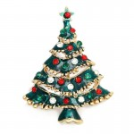 Christmas Tree Multi-color Wreath Electroplating Brooch Pins Women Fashion Brooch