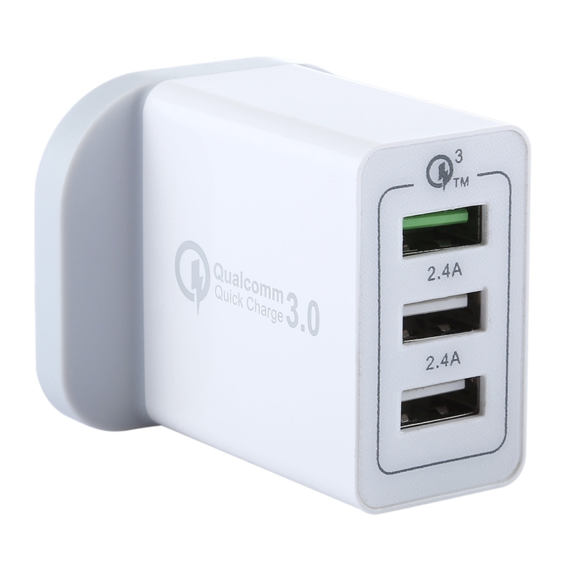 chargeur usb 3 ports 3a 2 4a rapide qc 3 0 voyage uk plug. Black Bedroom Furniture Sets. Home Design Ideas