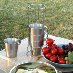 Outdoor Portable Picnic Cups Four Piece Suit Stainless Steel Drinking Mugs Anti-Hot Tea Coffee Cup
