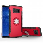 For Samsung Galaxy Note 8 PC+TPU Magnetic Protective Back Cover Case with 360 Degree Rotation Ring Holder(Red)