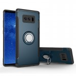 For Samsung Galaxy Note 8 PC+TPU Magnetic Protective Back Cover Case with 360 Degree Rotation Ring Holder(navy)