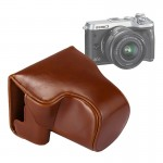 Full Body Camera PU Leather Case Bag with Strap for Canon EOS M6 (Brown)