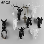 6 PCS Creative Three-dimensional Multifunctional Deer Head Animal Decorative Hook Coat Hook Retro Clothes Hanging Creative Home