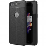 For OnePlus 5 Litchi Texture TPU Protective Back Cover Case (Black)