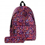 Colorful Flowers Pattern Print Travel Backpack School Shoulders Bag with Pen Bag for Girls, Size: 40cm x 30cm x 17cm
