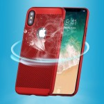 For iPhone X Fuel Injection Breathable Mesh PC Anti-Scratch Protective Cover Case (Red)