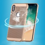 For iPhone X Fuel Injection Breathable Mesh PC Anti-Scratch Protective Cover Case (Gold)