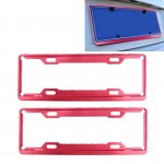 2 PCS Car License Plate Frames Car Styling License Plate Frame Aluminum Alloy Universal License Plate Holder Car Accessories(Red