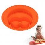 Smile Style One-piece Round Silicone Suction Placemat for Children, Built-in Plate and Bowl (Orange)