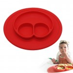 Smile Style One-piece Round Silicone Suction Placemat for Children, Built-in Plate and Bowl (Red)