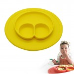 Smile Style One-piece Round Silicone Suction Placemat for Children, Built-in Plate and Bowl (Yellow)