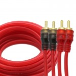 4.5m PVC + Copper Wire OFC 2RCA Male to 2RCA Male Gold-Plated Car Audio Video AV Cable for DVD / TV(Red) (Red)