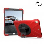 For iPad Pro 10.5 inch 360 Degree Rotation PC + Silicone Protective Case with Holder & Hand-strap (Red)