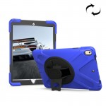 For iPad Pro 10.5 inch 360 Degree Rotation PC + Silicone Protective Case with Holder & Hand-strap (Dark Blue)