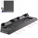 Charging Stand USB Dual Cooling Fan Controller Stand Holder Cooler for PS4 Console Cooler(Black)