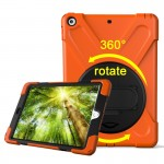 For iPad 9.7 inch (2017) 360 Degree Rotation PC + Silicone Protective Case with Holder & Hand-strap (Orange)