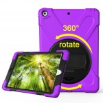 For iPad 9.7 inch (2017) 360 Degree Rotation PC + Silicone Protective Case with Holder & Hand-strap (Purple)